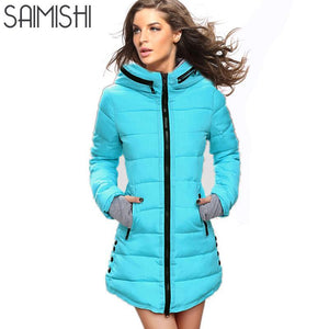 Long Parkas Winter Women Fashion Thickening Hooded Winter Jacket Womens Slim Fit Cotton Coat Overcoat Plus Size 13 Colors