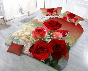 3/4pcs Cotton 3D Rose Bedding Sets High Quality Cover Bedsheet Pillowcase Reactive Printed Bedclothes Queen Bed Linen