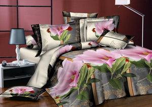 Bedding sets cotton set Rose Printing hot sale comforter bed set Queen full size 3/4 pcs
