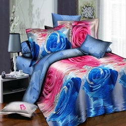 New 3D Print Bedding Sets HD Design Pink Ice Blue Rose Style Quilt / Duvet Cover Set Flat Sheet Pillowcase 4pcs Queen Size