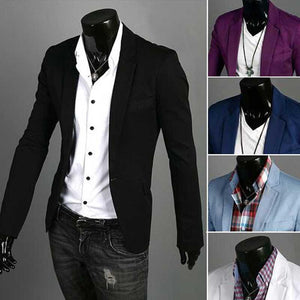 Men's Casual Slim Blazer Jacket Single Button - DealsBlast.com