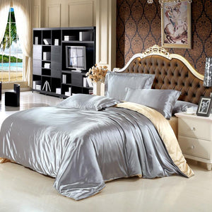 Satin silk bedding set home textile bed linen set clothing of bed bedcloth soft silky bedding full queen king size - Deals Blast