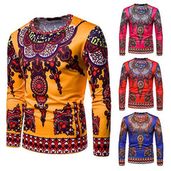 Autumn and winter models Mens Traditional Thailand Style African Print Long Sleeve fashion Blouse Sweatshirt moletom