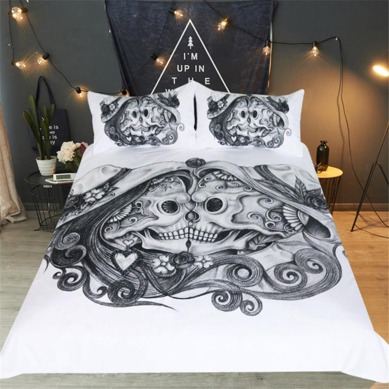 Skull Couples Bedding Set Black and White Duvet Cover With Pillowcases 3pcs Gothic Vintage Bedspread for Adults