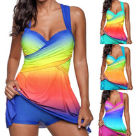 NEW Plus Size Rainbow Swimwear Women Lady Tankini Swimdress Swimsuit Beachwear Padded two-piece sexy bikini set