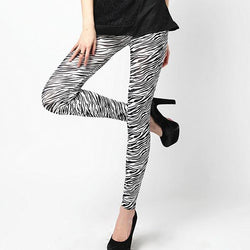 Women Zebra Print Skinny Tights Stretch Casual Pants - DealsBlast.com