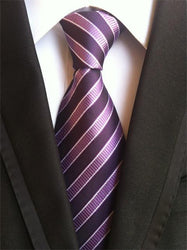 Woven Necktie With Purple Stripes