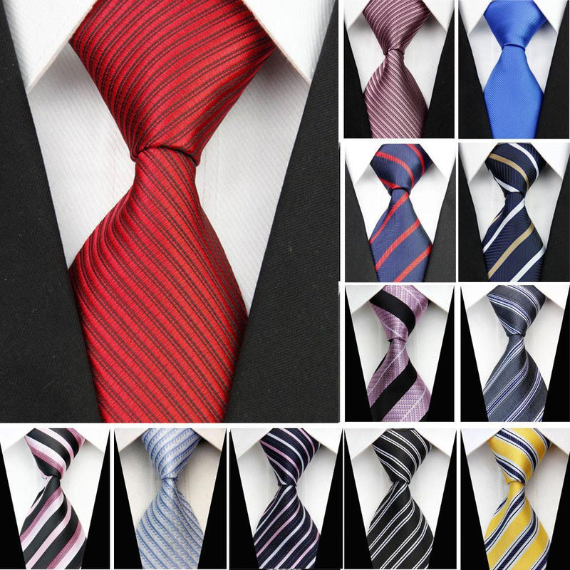 Classic Man Suit Necktie Silk  Striped Pattern Ties - DealsBlast.com