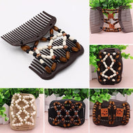 Wood Hair Clip Vintage Hair Accessories Magic Butterfly Beads Stretch Double Slide Comb For Women Fashion Headwear