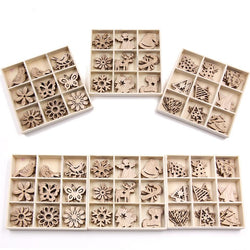 Mix Styles Mini Wood Chips DIY Wood Crafts Christmas Ornaments DIY Scrapbooking Supplies Christmas Party Decorations Kids Gift