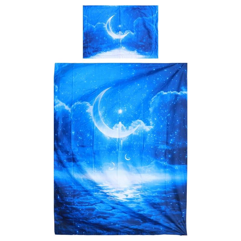 2 PCS Bedding Sets 3D Starry Sky Digital Print Cotton Bedspread Duvet Cover and Pillow Cases 150 x 210cm