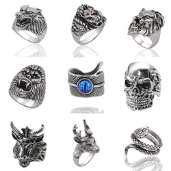 Gothic Punk Men Stainless Steel Ring Retro Rabbit Snake Tiger Wolf Rings Skeleton Devil Evil Eye Pentagram Animal Male Ring Anel