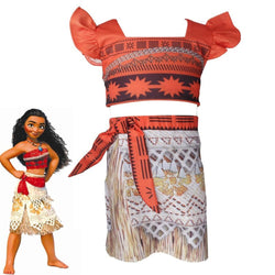 New Moana Cartoon dress princess shirt Kids girl Moana cosplay costume 2-7 Year