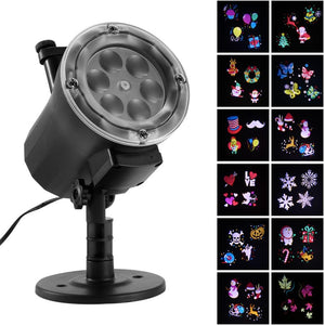 12 Patterns Mini Christmas Lights Outdoor Projector Laser Light Snowflake Santa Moving Disco Lights Christmas Party Decorations