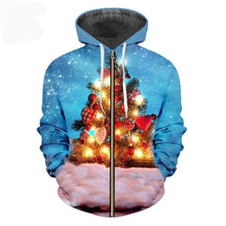 Christmas And Santa Claus 3D Sweatshirt Printed Plus Size 5XL Zip Hoodies
