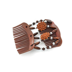 Hair Comb Wood Butterfly Fashion Girls Vintage Stretchy Bead Double Clip Magic Beads Elasticity Clip Stretchy Hair Combs