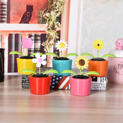 Plastic Crafts Home Car Flowerpot Solar Power Flip Flap Flower Plant Swing Auto Dance Toy Car Styling Decoration Ornaments 1pcs