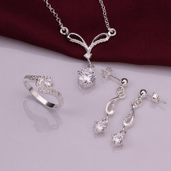 925Sterling Silver Crystal Geometry Earrings Rings Necklace Jewelry Sets S717-C