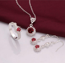 Hot 925 Silver Red Crystal Sun Earrings Rings Necklace Jewelry Sets S693