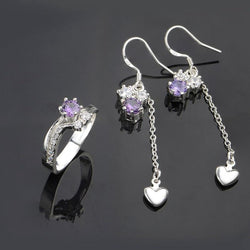 925Sterling Solid Silver Purple Crystal Cute Earrings Rings Jewelry Sets Gift for Women S678