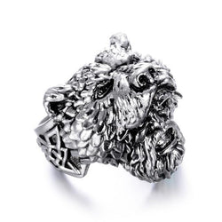 Stainless Steel Viking Bear Man Ring Titanium Punk Biker Ring Charm Jewelry Rings