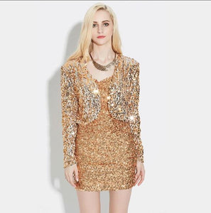 Spring Women Long Sleeve Short Cropped Coat Shiny Sequin Bolero Shrug Cardigan Jacket Gold Black Silver Retro Party Club Wear