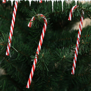 6Pcs/Lot Candy Crutch Pendant Christmas Tree Decor Hanging Ornament For New Year Xmas Party Kids Gift