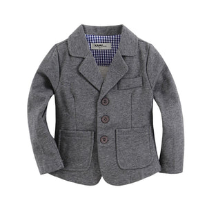 Knitted cotton toddler boy blazer solid Grey - DealsBlast.com