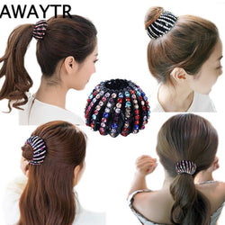 Hairpin  New Women Hair Accessories Bud Hair Clip Nest Shape Hair Ties Ponytail Holder Hair Claws Crystal Headear