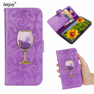 Flip case for Samsung Galaxy Note 9 Note 8 Wine Glass Quicksand Card slot wallet phone case cover for samsung S9 PLUS S6