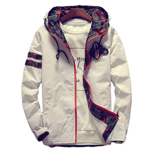 Hooded Jackets Spring White Zipper Lightweight Jackets