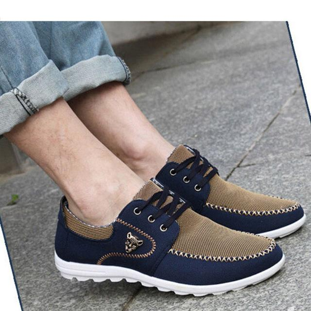 New Men Shoes Trend Canvas Shoes Men Casual Shoes Fashion Loafers Men's Flats Breathable Driving Shoes Big Size 48