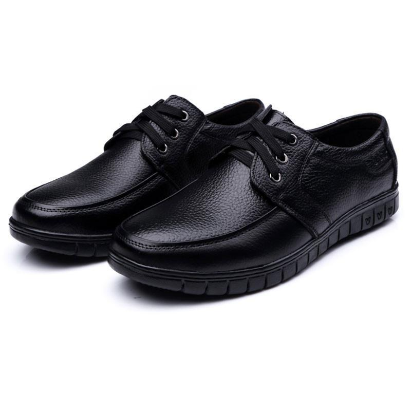 Genuine Leather Flats Black Brown Men Flats Shoes - DealsBlast.com