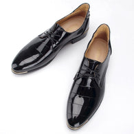Lace-up Pointed Casual Leather Shoes - DealsBlast.com
