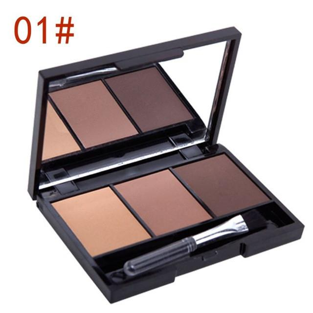 3 Color Fashion Pro Kit Eyebrow Powder Shadow Palette Enhancer W Brush Brown Gray Eyebrow Enhancer - DealsBlast.com