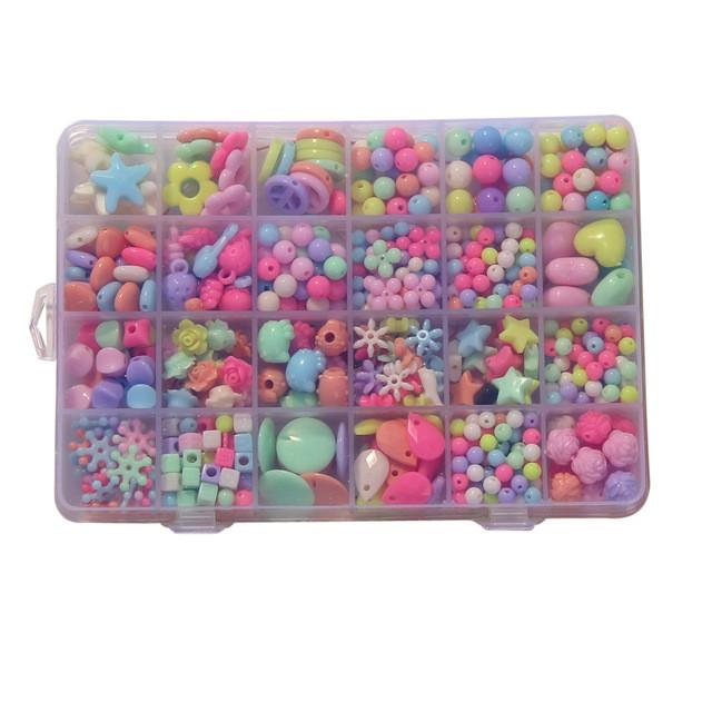 Assorted Plastic Acrylic Bead Kit Accessories DIY Bracelects Toys Jewelry Making Kids Beads Set Creative Gifts for children - DealsBlast.com