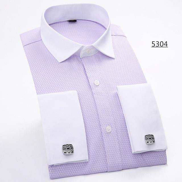 Men French Cufflinks Shirt 2017 New Men's Shirt Long Sleeve Casual Male Brand Shirts Slim Fit French Cuff Dress Shirts For Men - DealsBlast.com