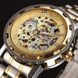Golden Watches Men Skeleton Mechanical Stainless Steel