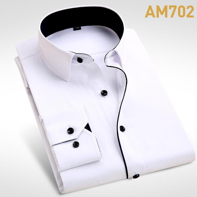 New Men Shirt Male Dress Shirts Men's Fashion Casual Long Sleeve Business Formal Shirt - DealsBlast.com