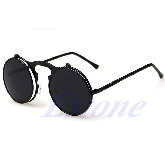 Unisex  Mens Sunglasses Coating Mirrored Sunglasses Round Circle Sun glasses Retro Vintage - DealsBlast.com