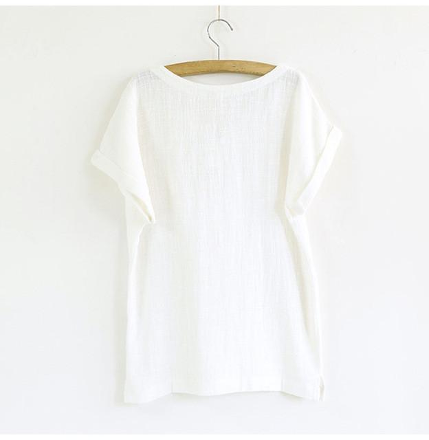 Plus Size summer women linen blouse top women cotton short sleeve ladies blouses - DealsBlast.com