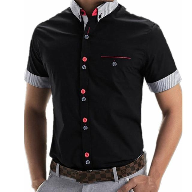 Fashion Men Shirt Short Sleeve Slim Fit Shirt Camisa Masculina Turn Down Collar Single Button Shirts - DealsBlast.com