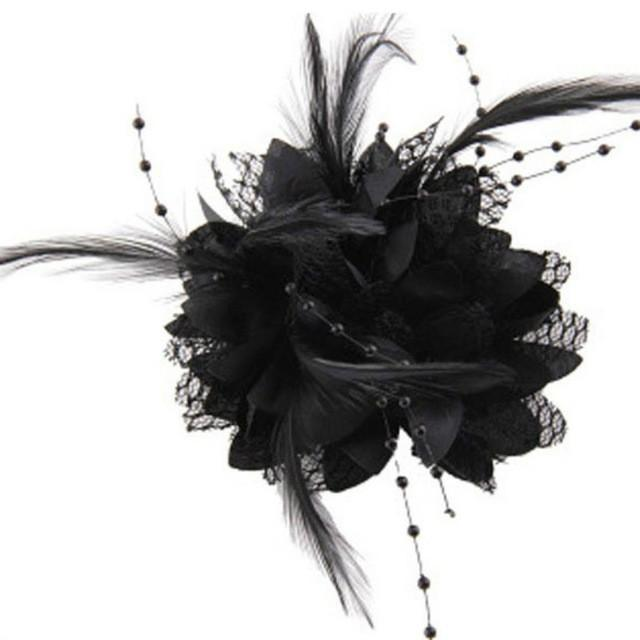 8 Colors Flower Feather Bead Corsage Hair Clips Fascinator Bridal Hairband Party - DealsBlast.com