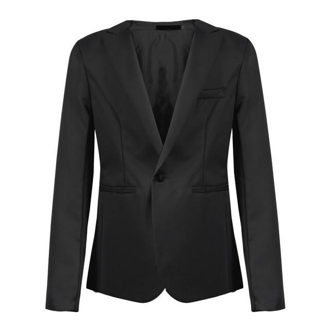 New Men Formal Slim Fit Blazer Suit Business Coat Wedding Party Tops Hombre Jackets Grey Black - Deals Blast