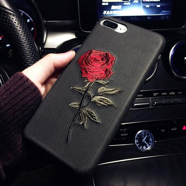Embroidery Rose Ultra Thin Back Cover Mobile Phone Case for iPhone 8 7 6 6s Plus 7 Plus - DealsBlast.com