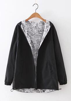 Autumn Women Bomber Basic Jacket  Hooded Two Side Wear Outerwear Coat - DealsBlast.com