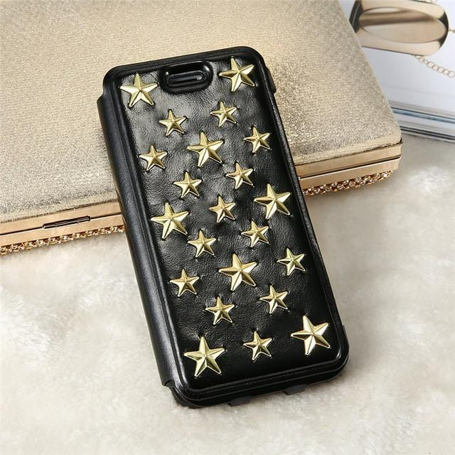 Gold Star Pattern Case For iPhone 6 6S Plus Leather Case Magnetic Cover For Apple iPhone 7 7 Plus - DealsBlast.com