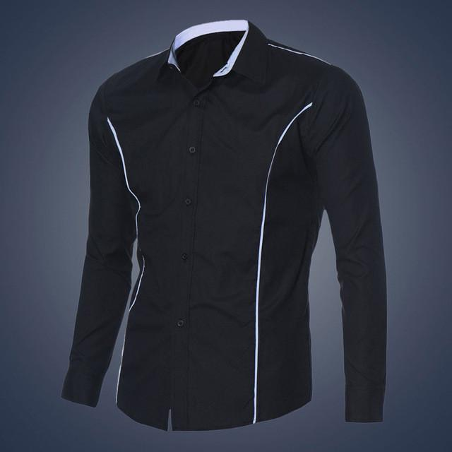 New Design Brand-Clothing Mens Luxury Long Sleeve Casual Slim Fit Stylish Dress Shirts chemise homme  XXL - DealsBlast.com