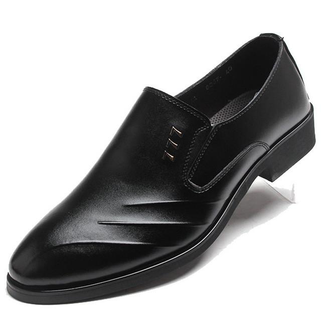 Men business formal dress shoes pointed toe slip-on - DealsBlast.com