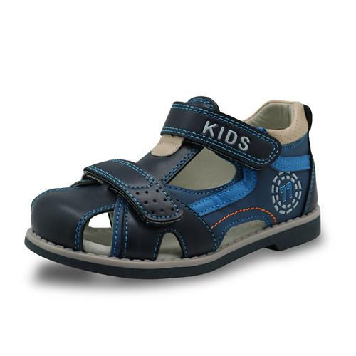 kids summer shoes hook & loop closed toe toddler boys sandals orthopedic sport leather baby boys sandals shoes